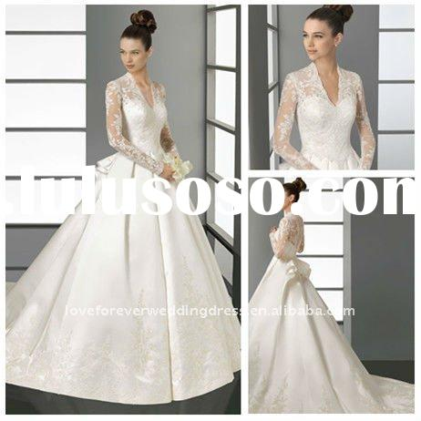 Cathedral Train Ball Gown Long Sleeve Lace Wedding Dresses