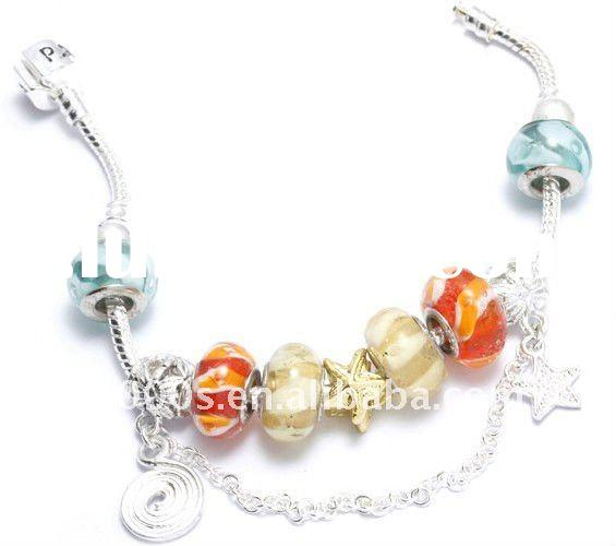 Christmas gift silver bracelet with pandora beads