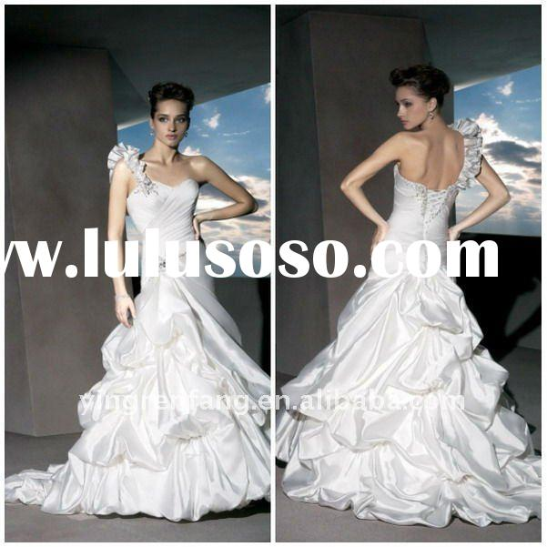 Classic One-Shoulder Beaded Taffeta Ruffle Lace-Up Closure A-Line Court Train wedding dress 2011 in