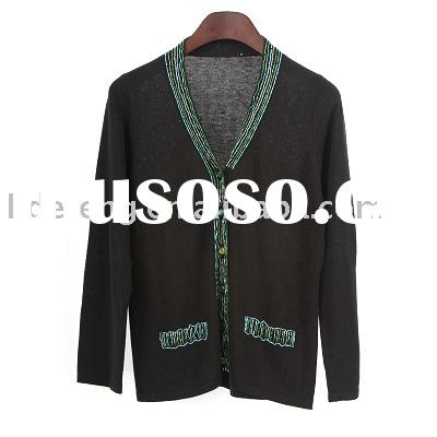 Cotton/Acrylic, ladies' sweater with hand embroidery