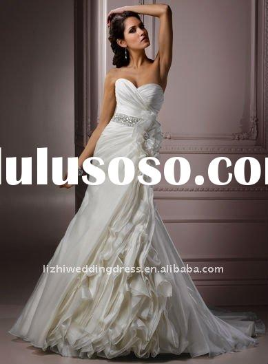 Custom-made 2012 new style strapless organza-satin chaple train applique A-line wedding dresses MGN1