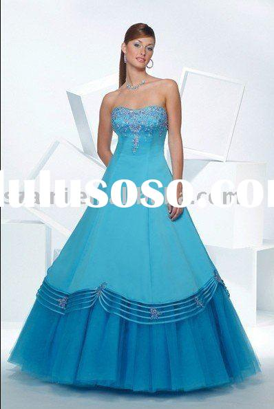 Exquisite Ball Gown Strapless Beaded Taffeta AN-CF-027h Prom Dress