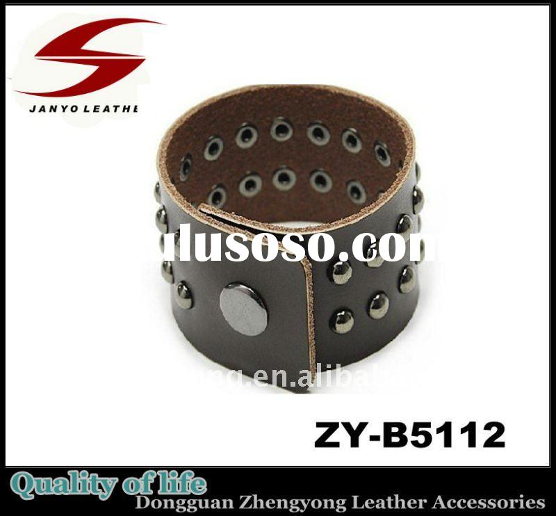 Extra Width Genuine Leather Bangles and Bracelets