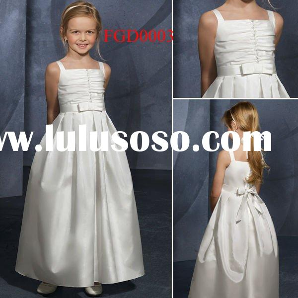 FGD0003 Ball Gown Simple Taffeta Flower Girl Dress for 2-7 Years Old