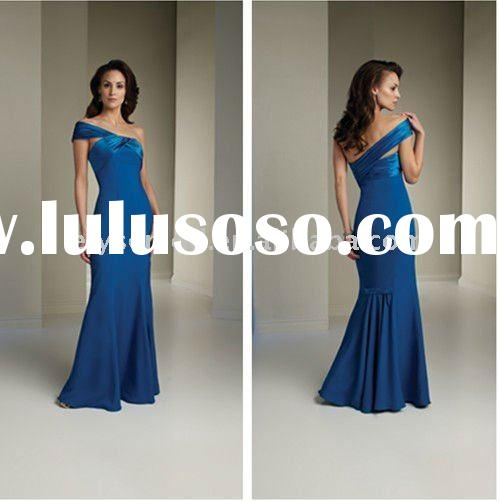 Fashionable One-Shoulder Royal Blue Satin Mermaid Mother of the Bride Dress