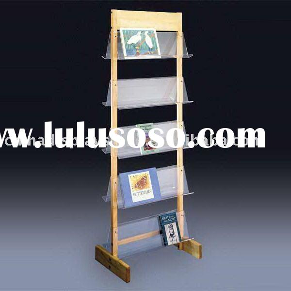 Floorstanding acrylic brochure/literature/magazine display or stand with multi-pocket