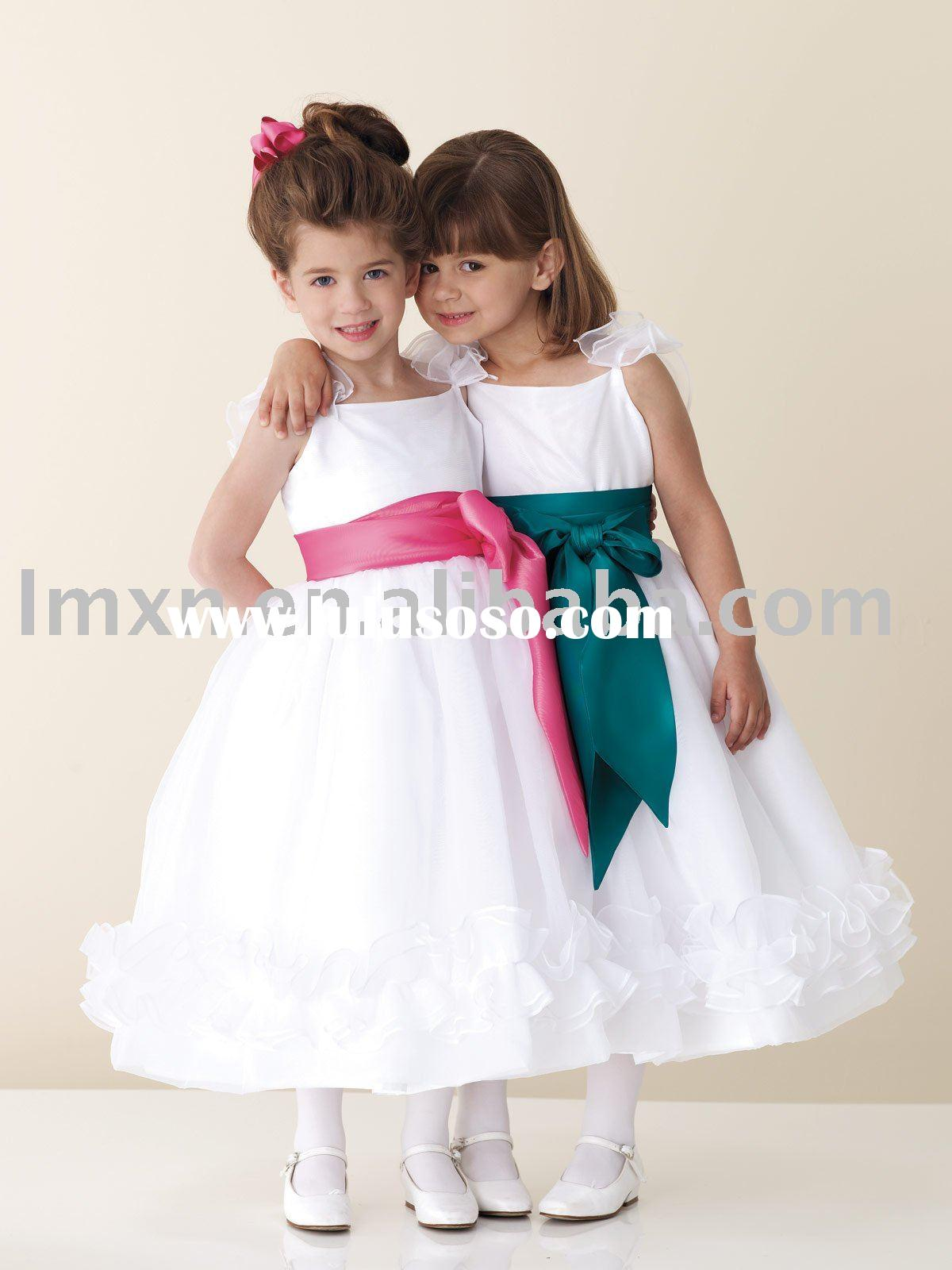 Free shipping wholesales sash white satin flower girl dress