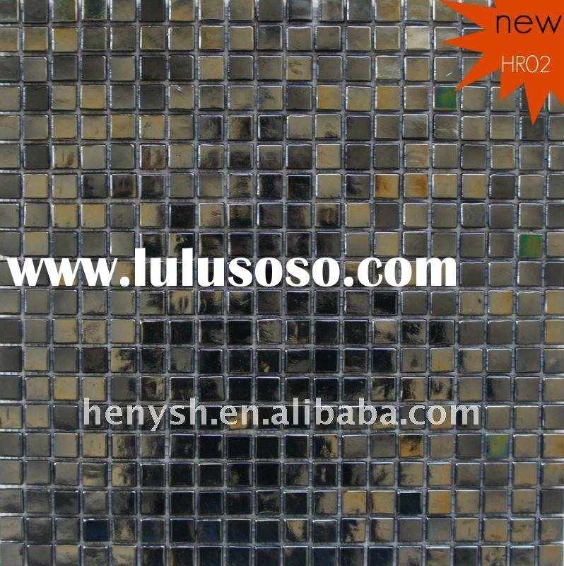 Glass Mosaic,wall tile,iridescent black colors HR02 for swimming pool,spa