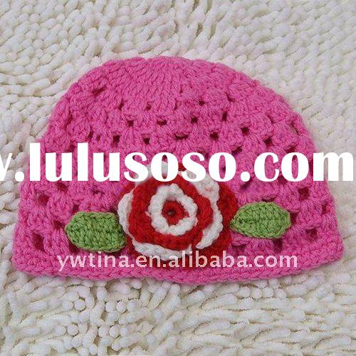 Hot Sale Item!!Hot pink 100% Acrylic Handmade Crochet Baby Hat/Knitted Hat/Crochet Kufi Hat