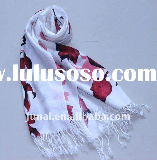 Hot sale cashmere red rose printed long fashion scarf for winter