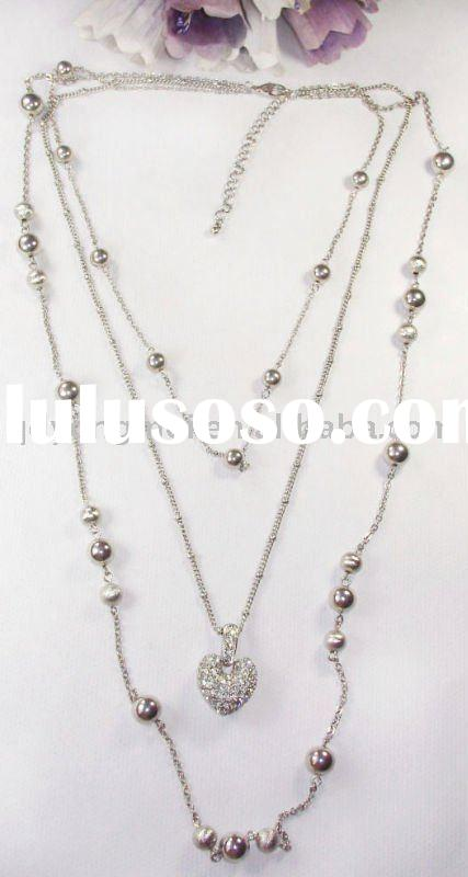 Hot selling fashion costume jewelry silver long couple chains crystal rhinestone studded heart penda