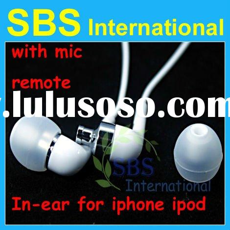 In-ear earphone with mic and remote for ipod for iphone