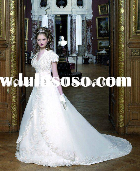 Ivory WD237 Modest Wedding Dress with Cap Sleeve Short Jacket