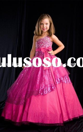 LH210 Newest one-shoulder taffeta ball gown flower girls dresses