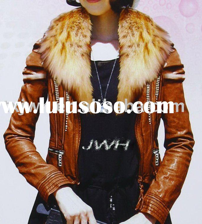Ladies' fashion jacket leather with fur collar