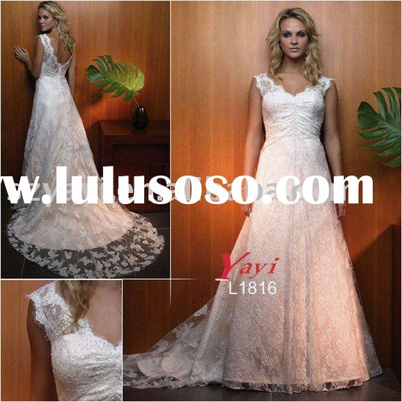 Latest style white lace sheath cap sleeve v neck beaded sweep train bridal wedding gowns L1816