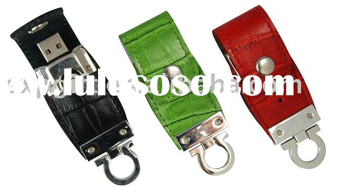 Leather holder with Omega ring USB flash drive