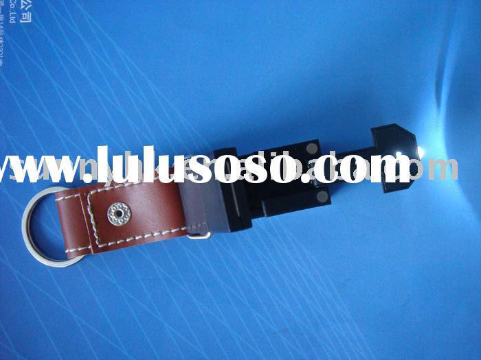 Leather usb flash drive with LED light and key ring(SU609)