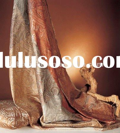 Luxury satin silk curtain, antique jacquard silk curtain(B190071)