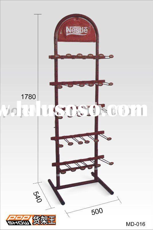 MD-016 red Nestle display stand ( with total 30 pcs hooks)