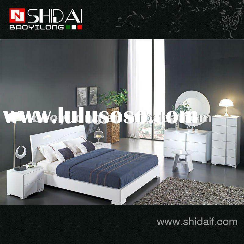 Modern double mdf white paint bedroom furniture sets with mirror B57