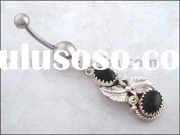 Navajo Black Onyx and Sterling Silver Belly Navel Ring,navel jewelry,body jewelry