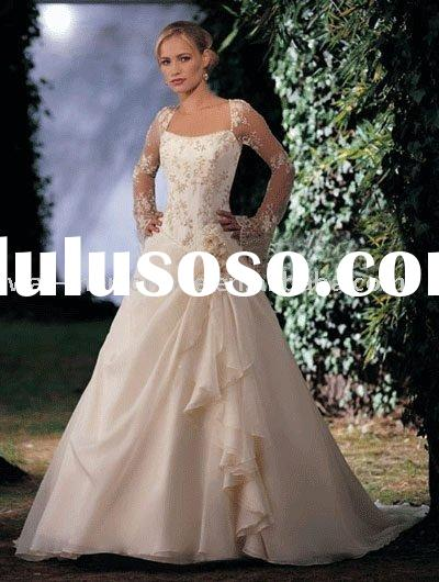 New Arrival EL096 A-line Square Neck Empire Waist Champagne Organza Long Sleeve Bridal Wedding Gowns