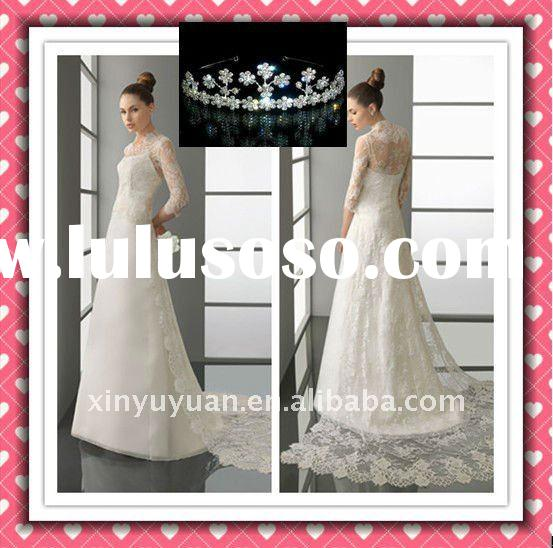 New Arrival Luxury Beauty Lace Long Sleeve Modest Muslin Wholesale Wedding Dress 2012 Wedding Gowns
