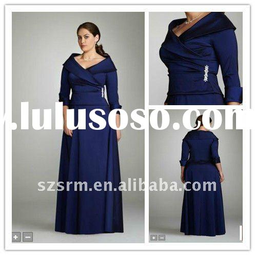 New Style!Royal Blue V-neck Long Sleeve Mother of the Bride Dress 2012