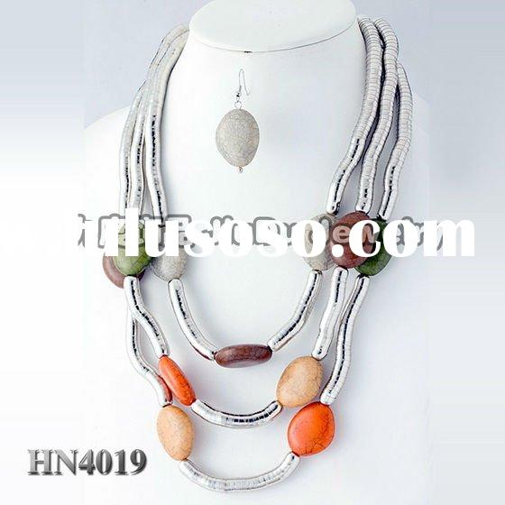 New arrival-2011 fashion aluminium jewelry chain with stone necklace