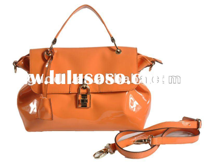 New arrival! Glossy Patent flap shoulder leather bag 2012 latest fashion ladies bags handbags