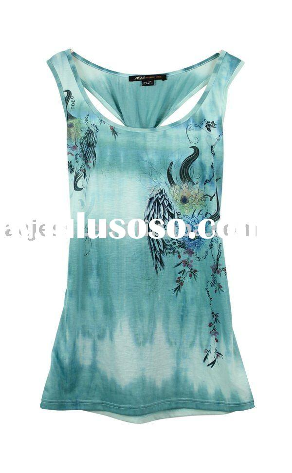 New arrival, around neck printed tank top for women in 2012