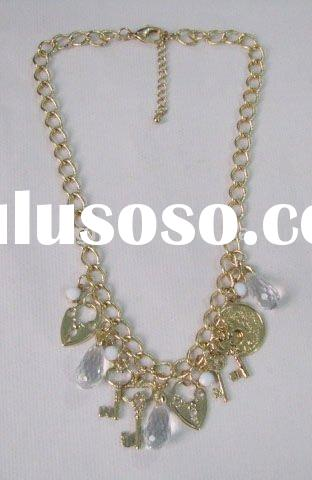 New design fashion gold alloy heart lock and key pendant jewelry necklace