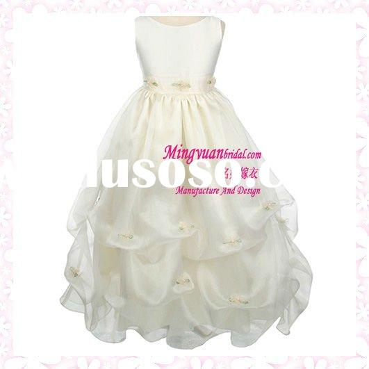 New design ivory appliqued ruffle lovely organza qq089 little girls ball gown dresses