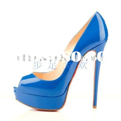 New style 2012 spring summer design light blue ladies dress shoes