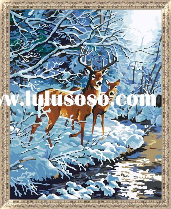 Oil painting (Snow deer, 100% cotton canvas)