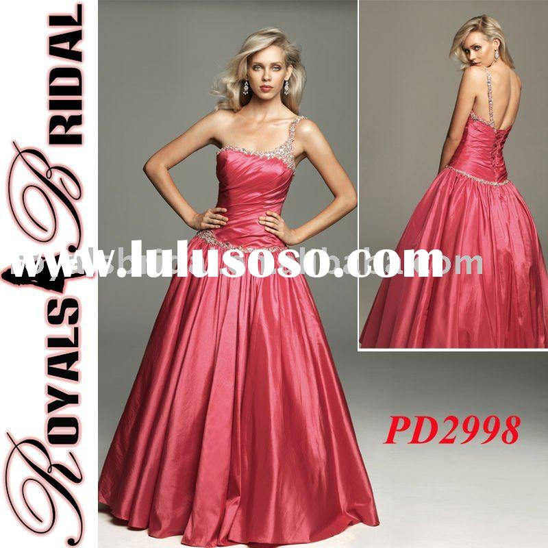One Strap Ball Gown Lace Up Back Beaded Taffeta Prom Dress
