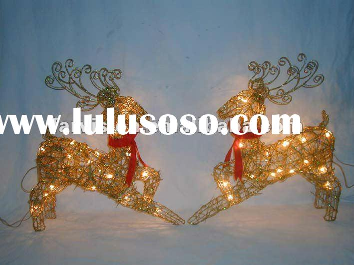Outdoor christmas decorations reindeer with lights