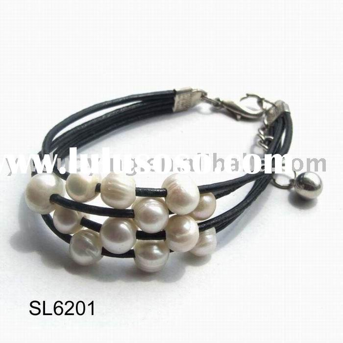 Pearl Bracelet with leather