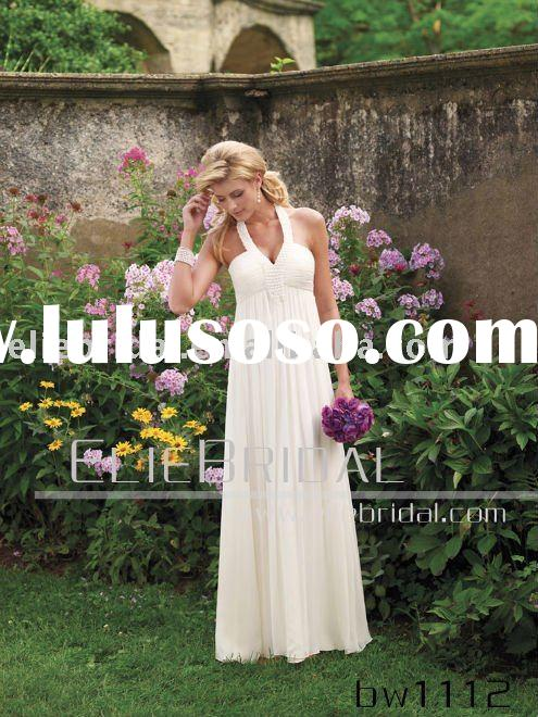 Popular Floor-length Halter V Neck Chiffon Beach Casual Wedding Dresses