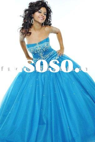 RQ005 Tulle over satin beaded lace appliques pageant Princess dress formal evening dress prom gown Q