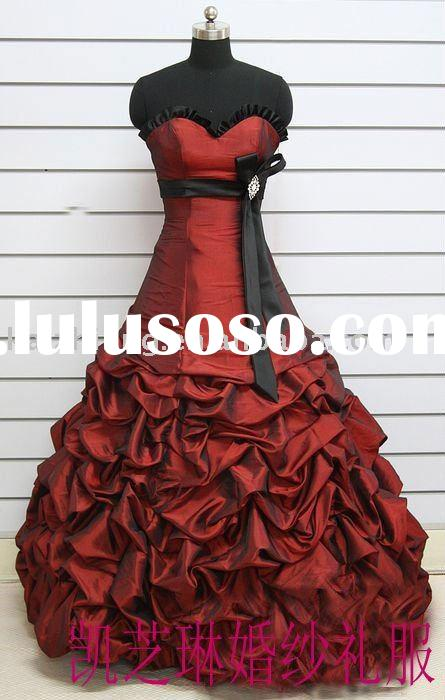 Real picture model red and black ribbons dropped ribbons floor wedding dress 2011 bridal gown