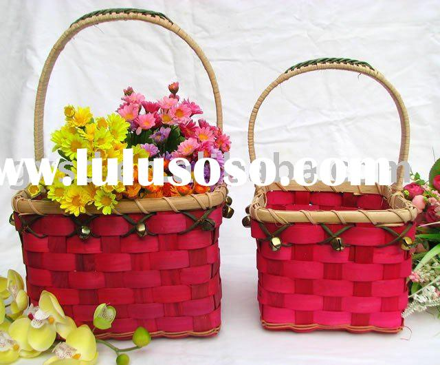 Red rectangle wooden chip & rattan basket with handle christmas food storage basket