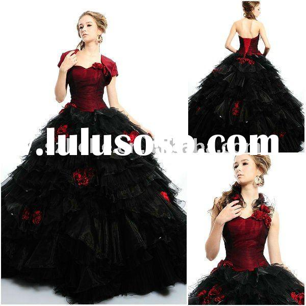 Removable ruffled organza halter Ball gown black and red quinceanera dress