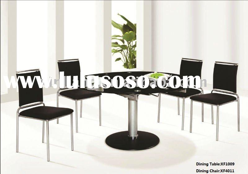 Round design black dining table (extension)