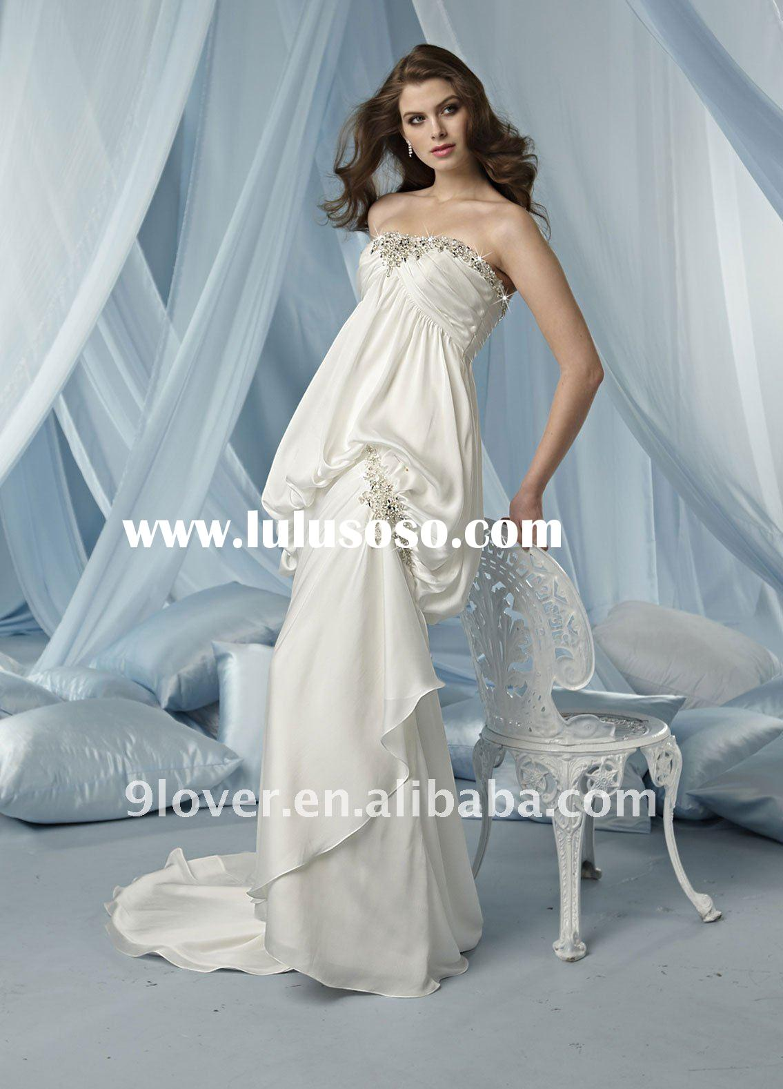 Satin Ball Gown with Pleated Bodice Pick Up Style 3091 wedding dress