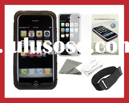 Skque for Apple Iphone 3G Smoke Silicone Skin Case Cover + Screen Protector Bundle Kit Set