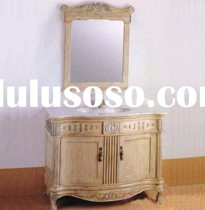 Solid Oak Wood Bathroom Cabinet,Cabinets with Granite Vanity Top