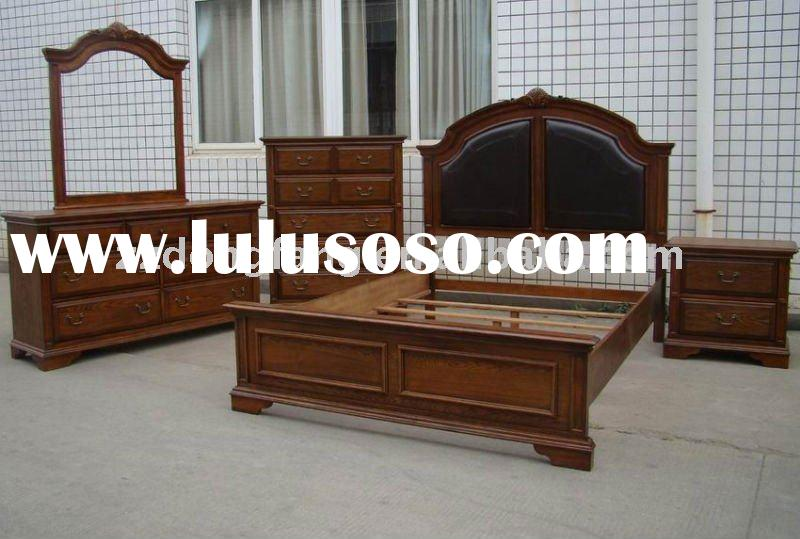Solid wood bedroom set with bed nightstand chest dresser