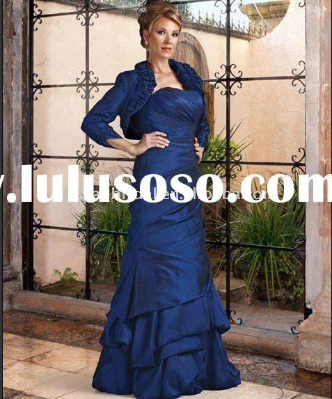 Style RZ-md015 2012 new design pleated taffeta long sleeve royal blue mother of the bride dresses
